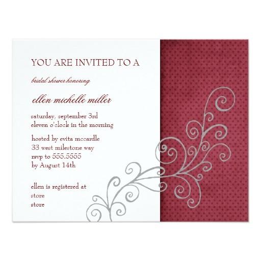 red polka dot modern bridal shower invitations