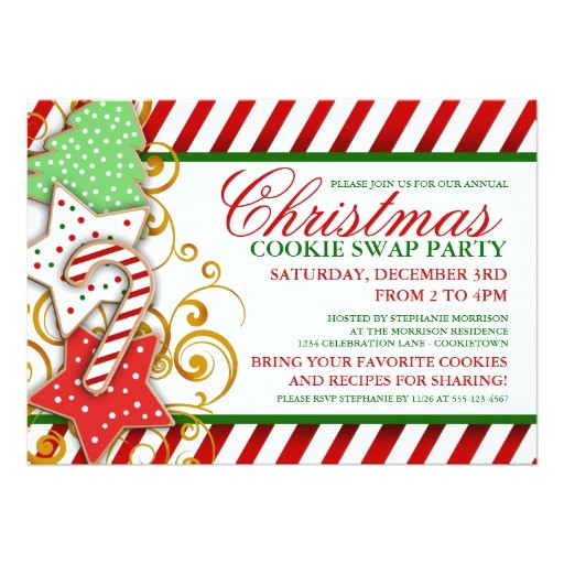 christmas cookie swap party invitation 161959248691108566