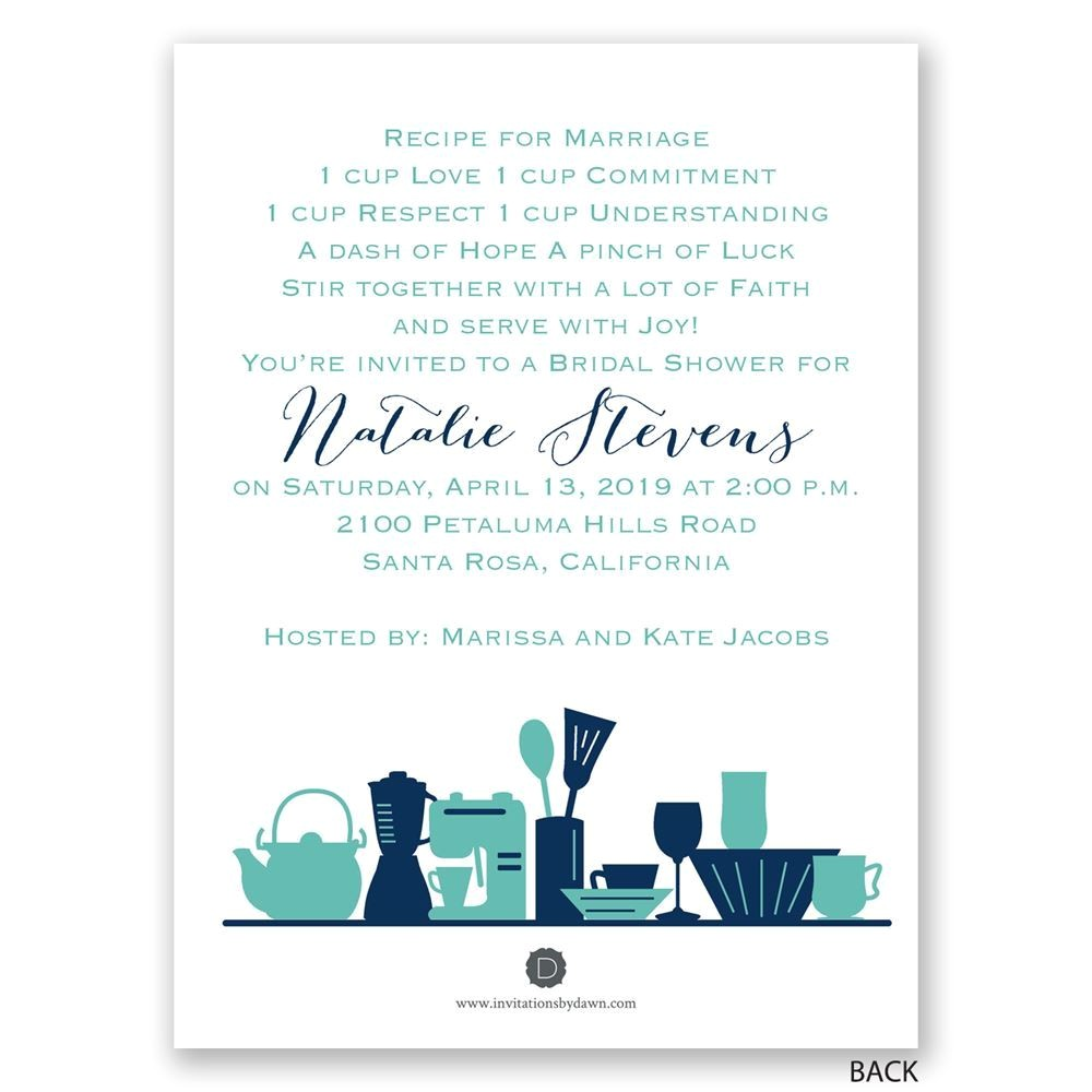 kitchen gad s petite bridal shower invitation