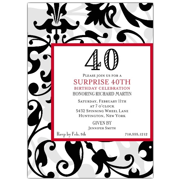 Fun Faux Flocked 40th Birthday Invitations p 604 57 1073