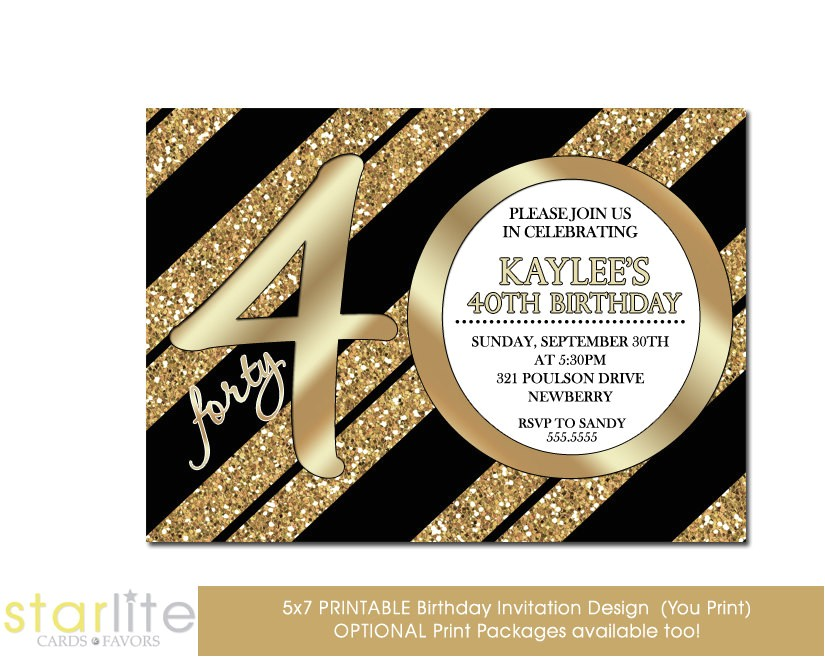 40th birthday invitation milestone birthday modern number black gold glitter glitzy glam uni