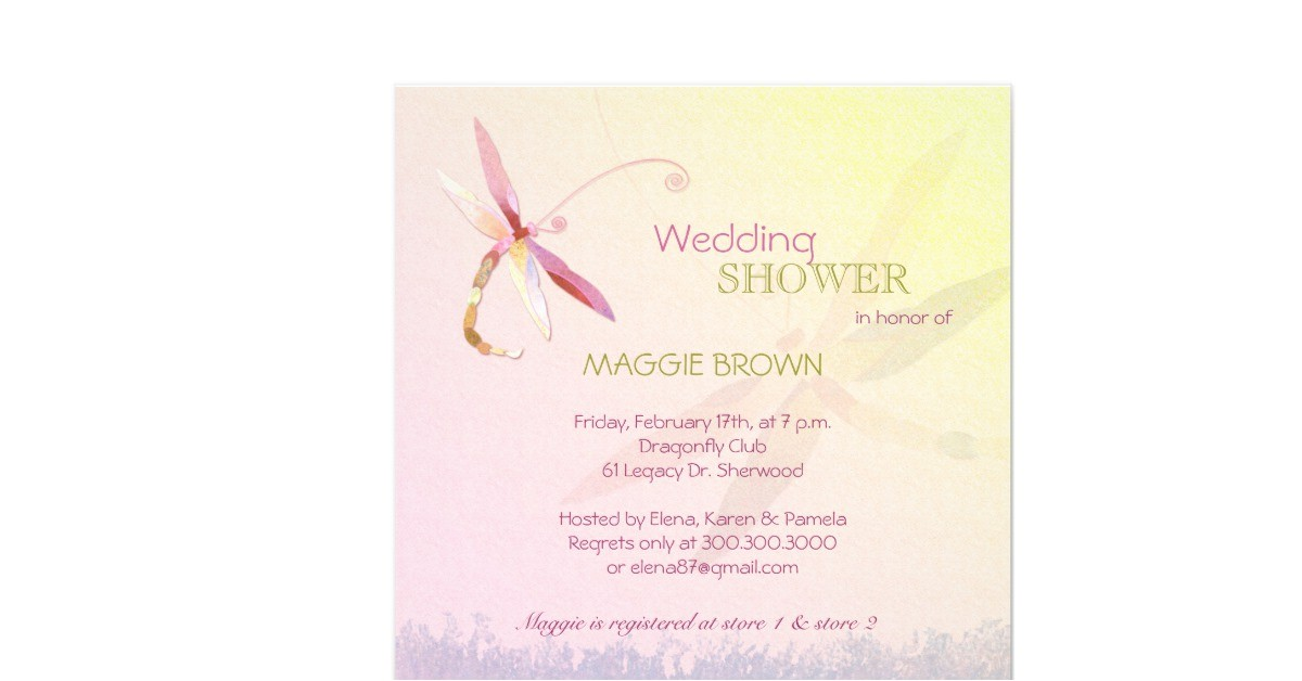 dragonfly theme unique bridal shower invitations