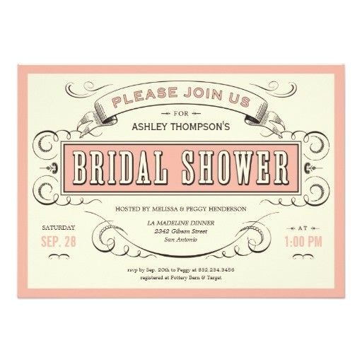 unique vintage bridal shower invitations