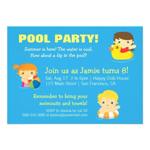 cool blue summer birthday pool party invitations 161129908557776849