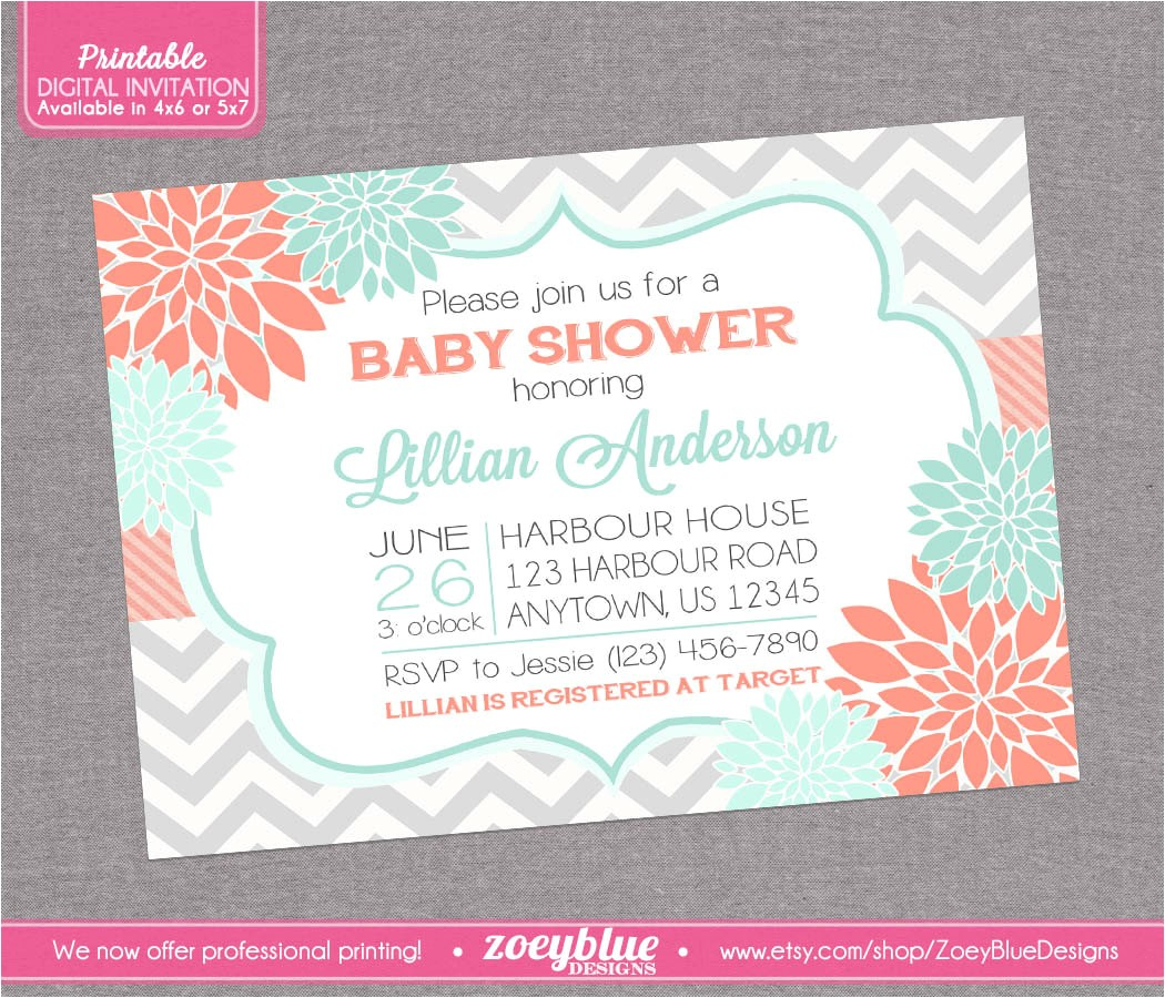 floral coral mint chevron baby shower