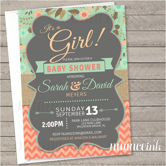 mint and coral baby shower invitations