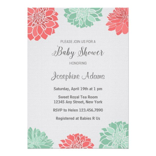 mint and coral dahlia baby shower invitation