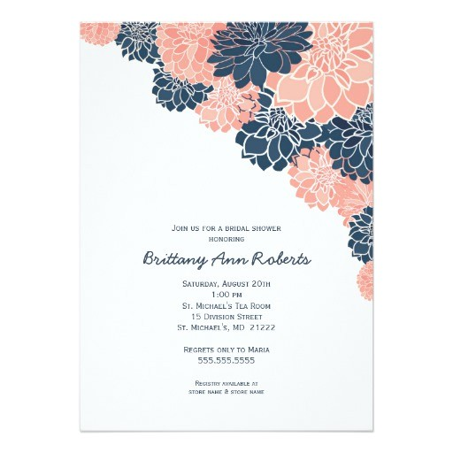 coral navy dahlias bridal shower invites