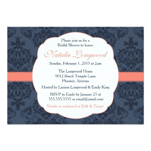damask invitation bridal baby shower coral navy