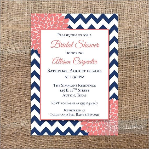navy coral bridal shower invitation printable navy blue chevron and coral mum bridal invite wedding shower invitation