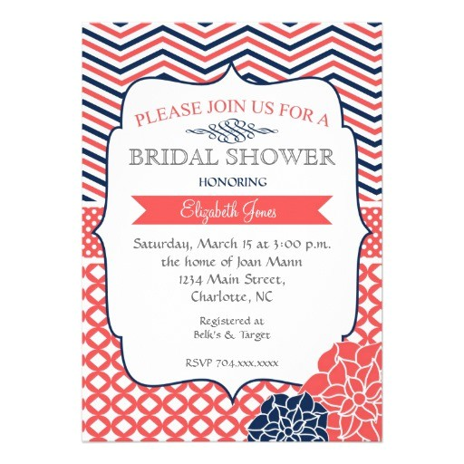 "Coral and Navy Bridal Shower Invitations Navy and Coral Vintage Bridal Shower Invitation 5"" X 7"