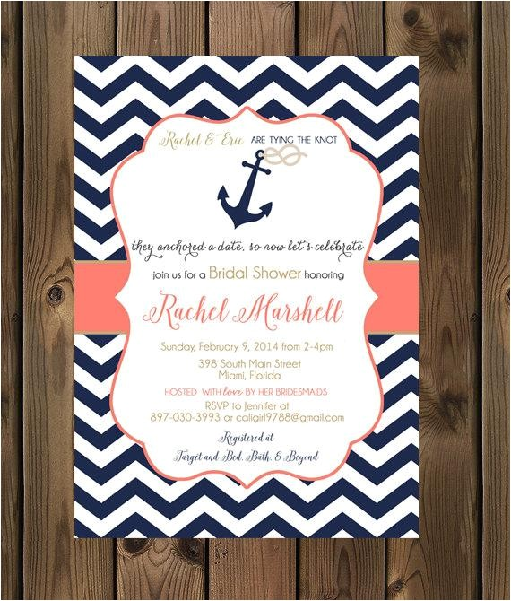 navy and coral wedding shower invitations nautical bridal shower invite anchor 81