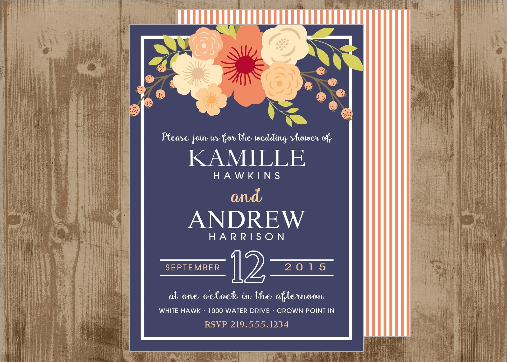 printable wedding bridal shower invitation in navy and peachy coral