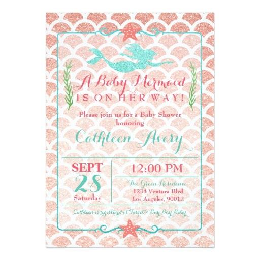 coral teal mermaid baby shower invitation