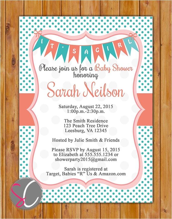 coral teal baby shower invitation polka