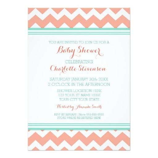 teal coral chevron custom baby shower invitations