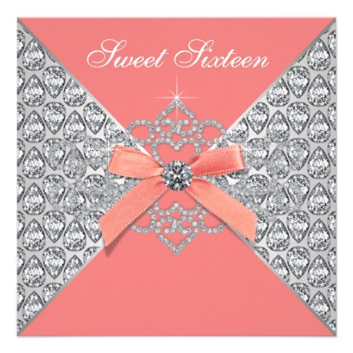 coral diamonds coral sweet 16 birthday party invitation 161567765783738139