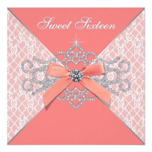 coral diamonds coral sweet 16 birthday party invitation 161476339142828125
