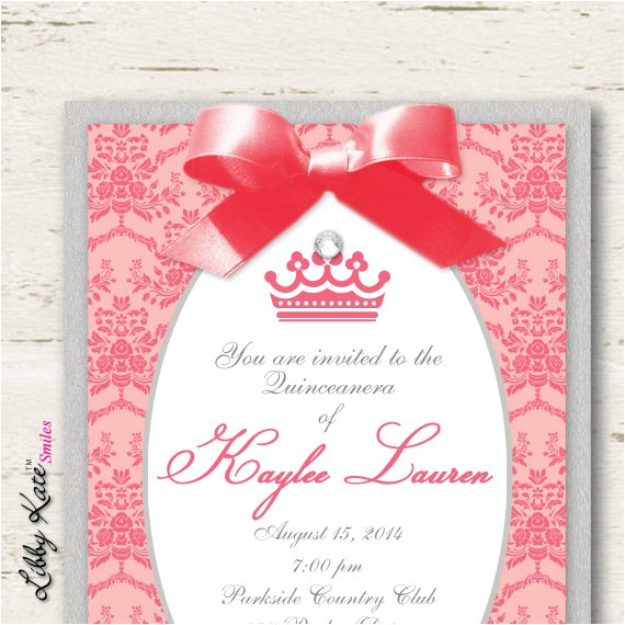 coral quinceanera invitations sweet 16
