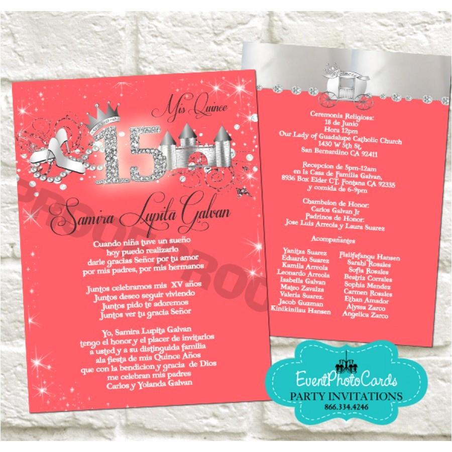 new coral silver quinceanera invitations