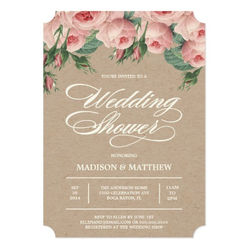 country roses bridal shower invitation
