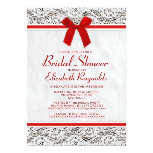red country lace bridal shower invitations