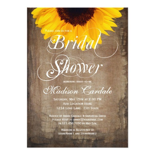 rustic country sunflower bridal shower invitations