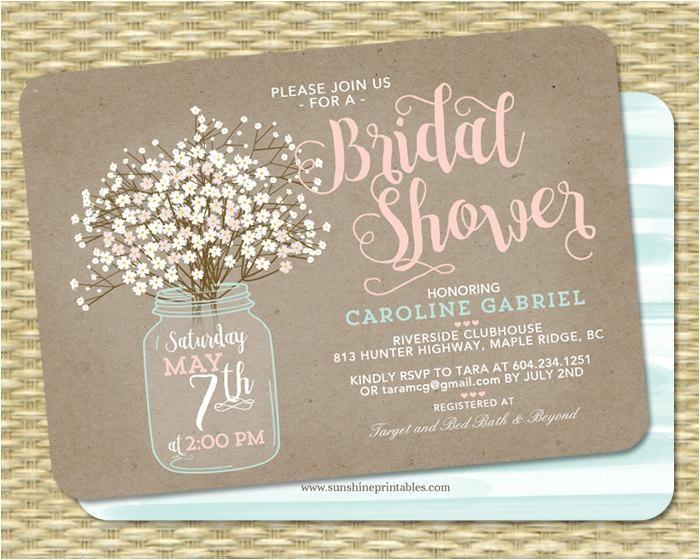 country bridal shower invitation bridal shower invite wedding shower rustic bridal shower baby39s breath invitation rustic kraft