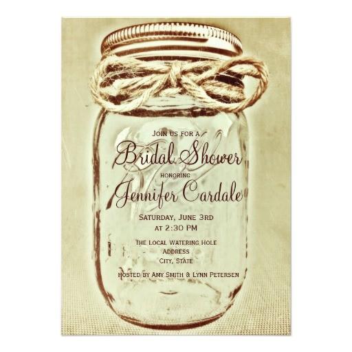mason jar rustic country bridal shower invitations