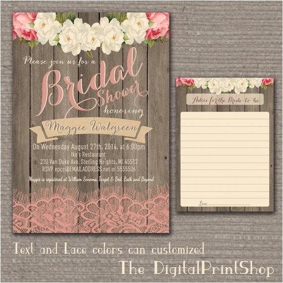 garden rustic baby lingerie bridal shower invite wood pink peonies lace shabby chic invitation printable diy 91 digital downloadable jpg
