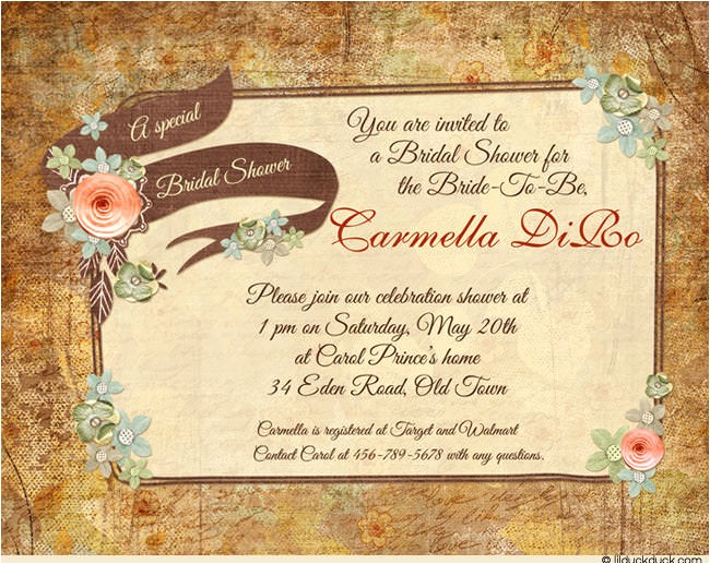 country chic bridal shower invitation