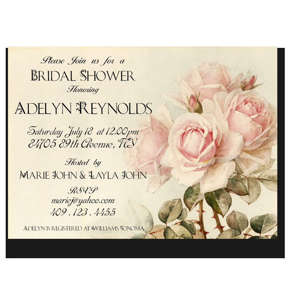 bridal shower invitation diy printable invitation vintage bouquet of roses