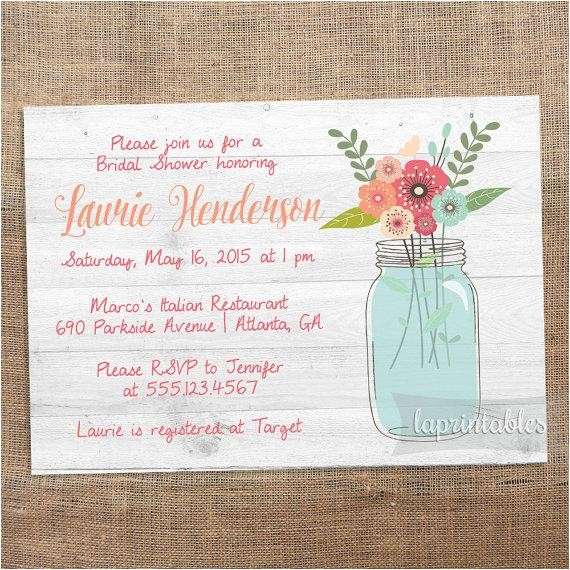 rustic mason jar invite printable bridal shower invitation floral invite rustic chic wedding shower wood invitation bridal shower