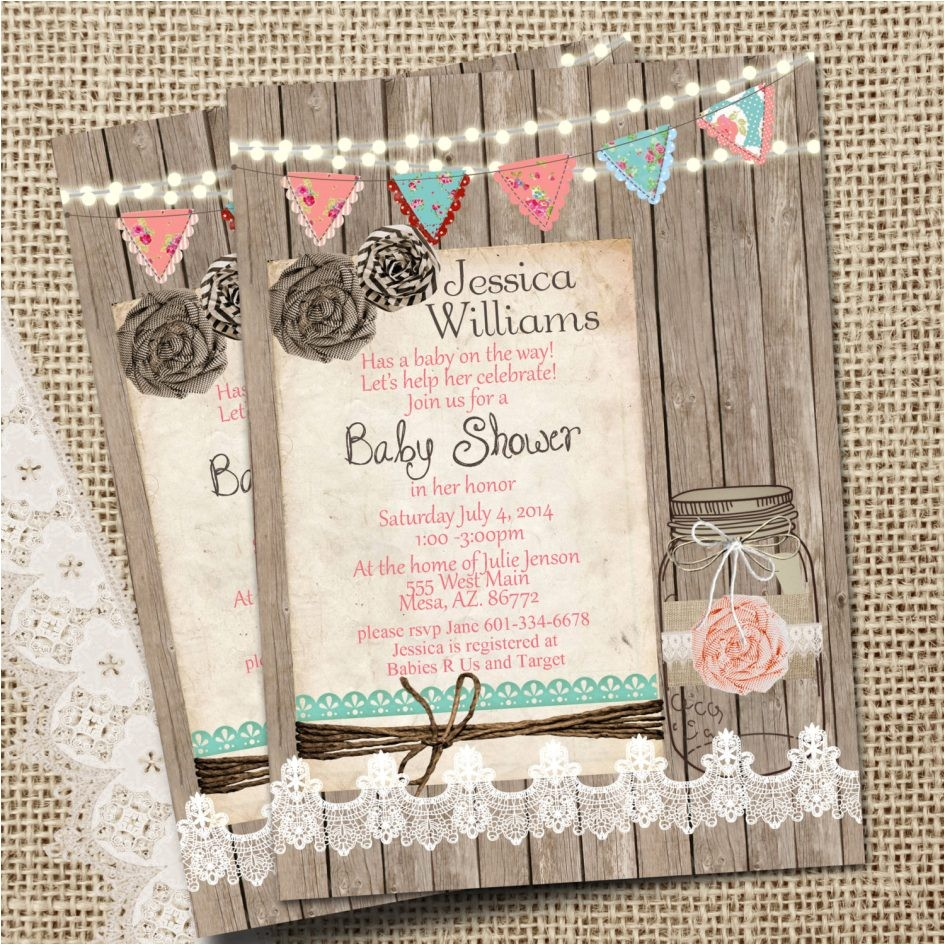 country style baby shower invitations