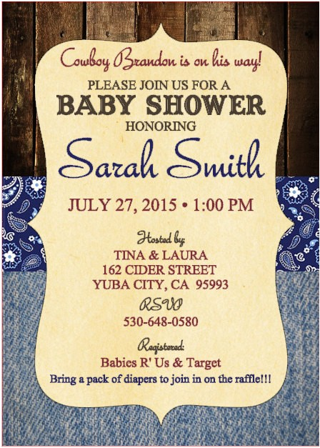 baby shower invitations country theme