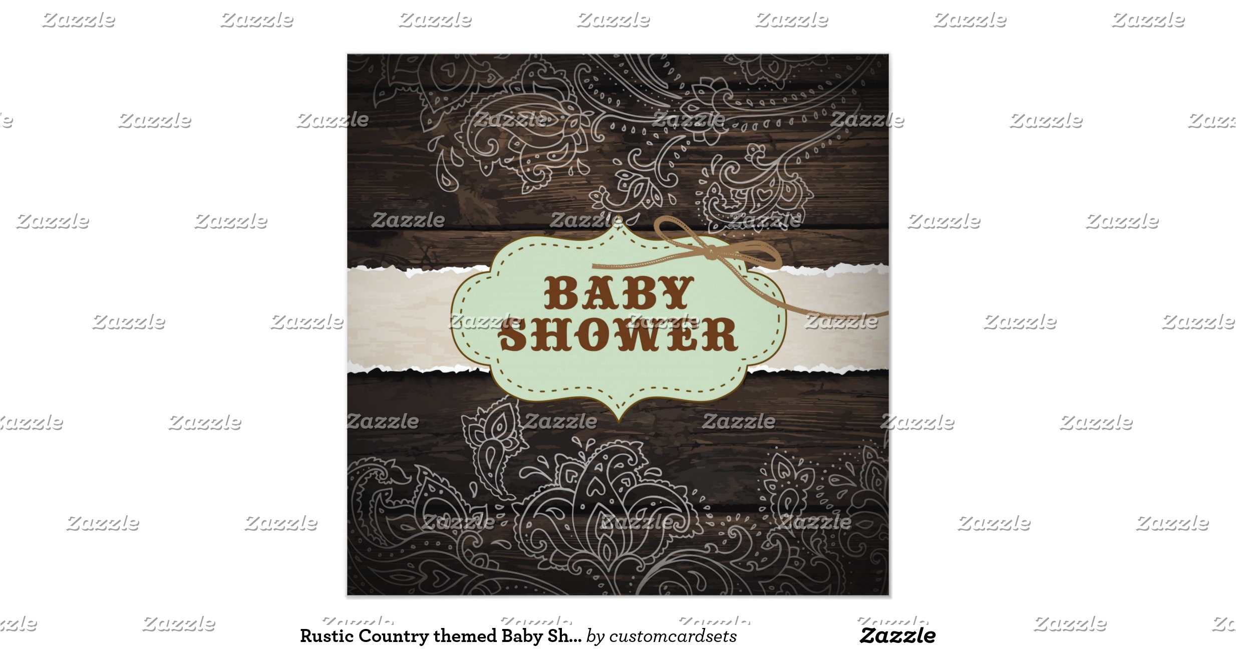 rustic country themed baby shower invitation