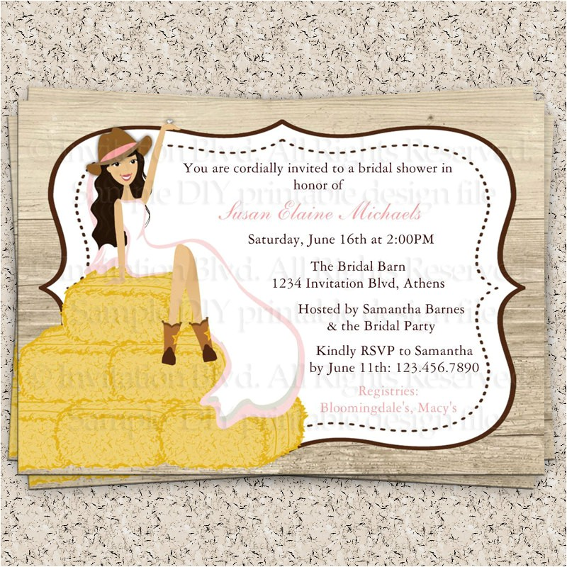 bridal shower invitations country theme