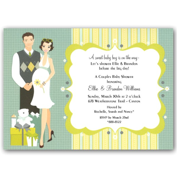 Happy Couple Blue Baby Shower Invitations Clearance p 109 IN 152