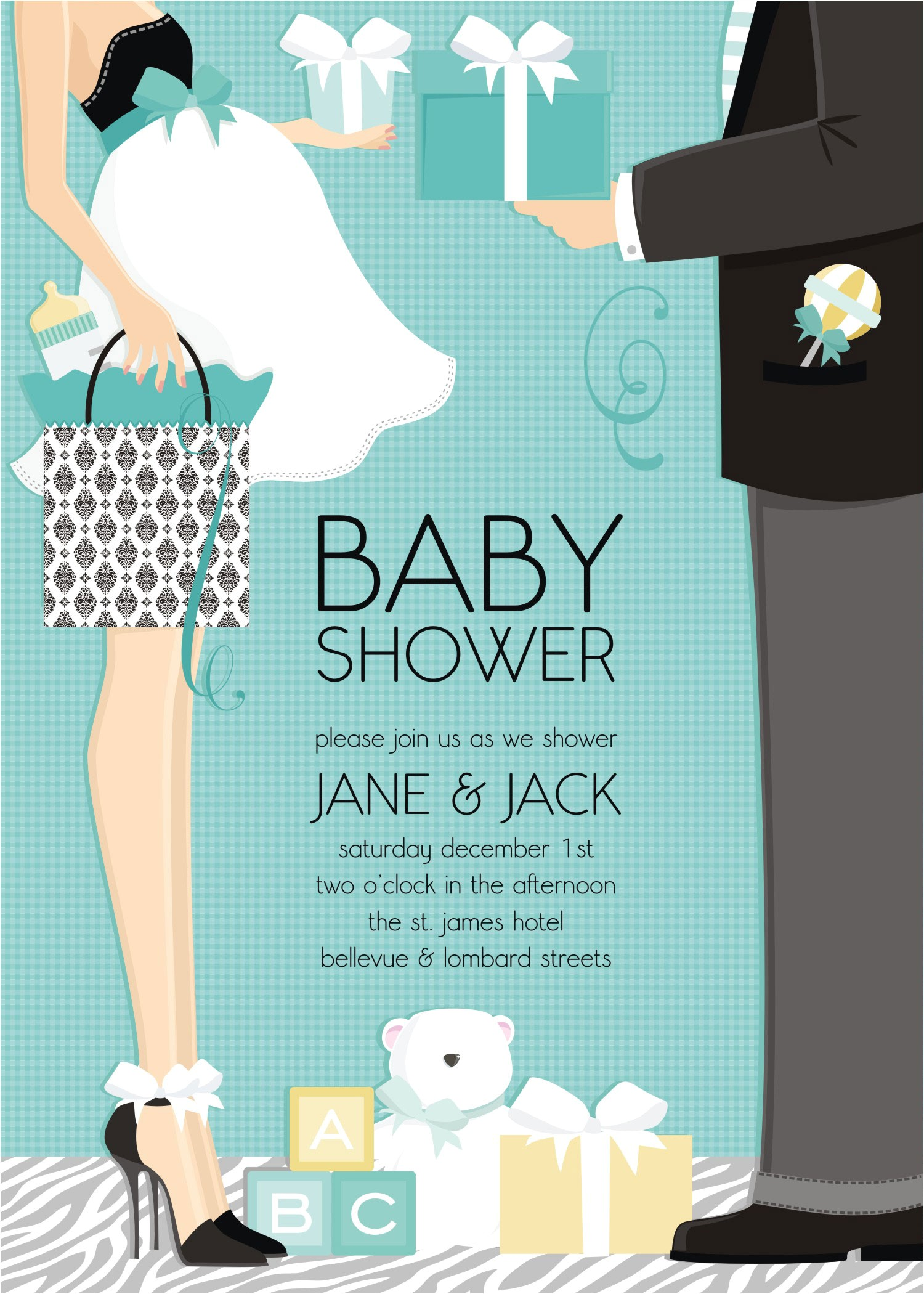 "Couple Baby Shower Invites Quick View Dm In 287 ""classic Couple Baby Shower"