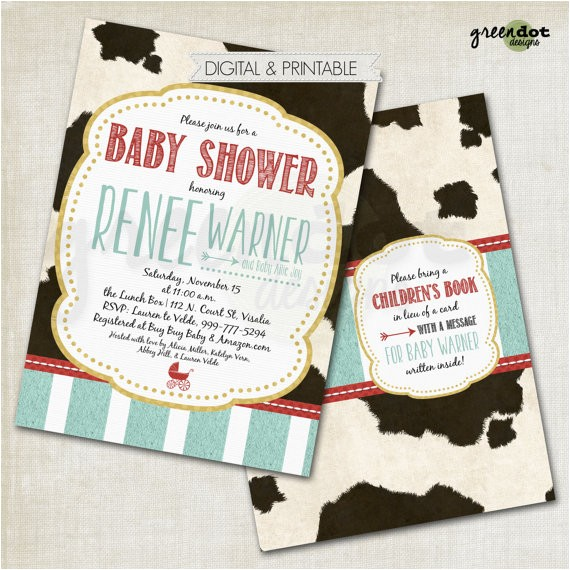 milkaholic baby shower invitation cow