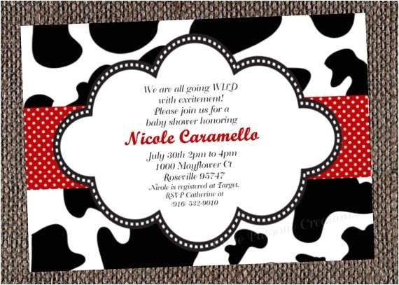 black white cow print shower invitation