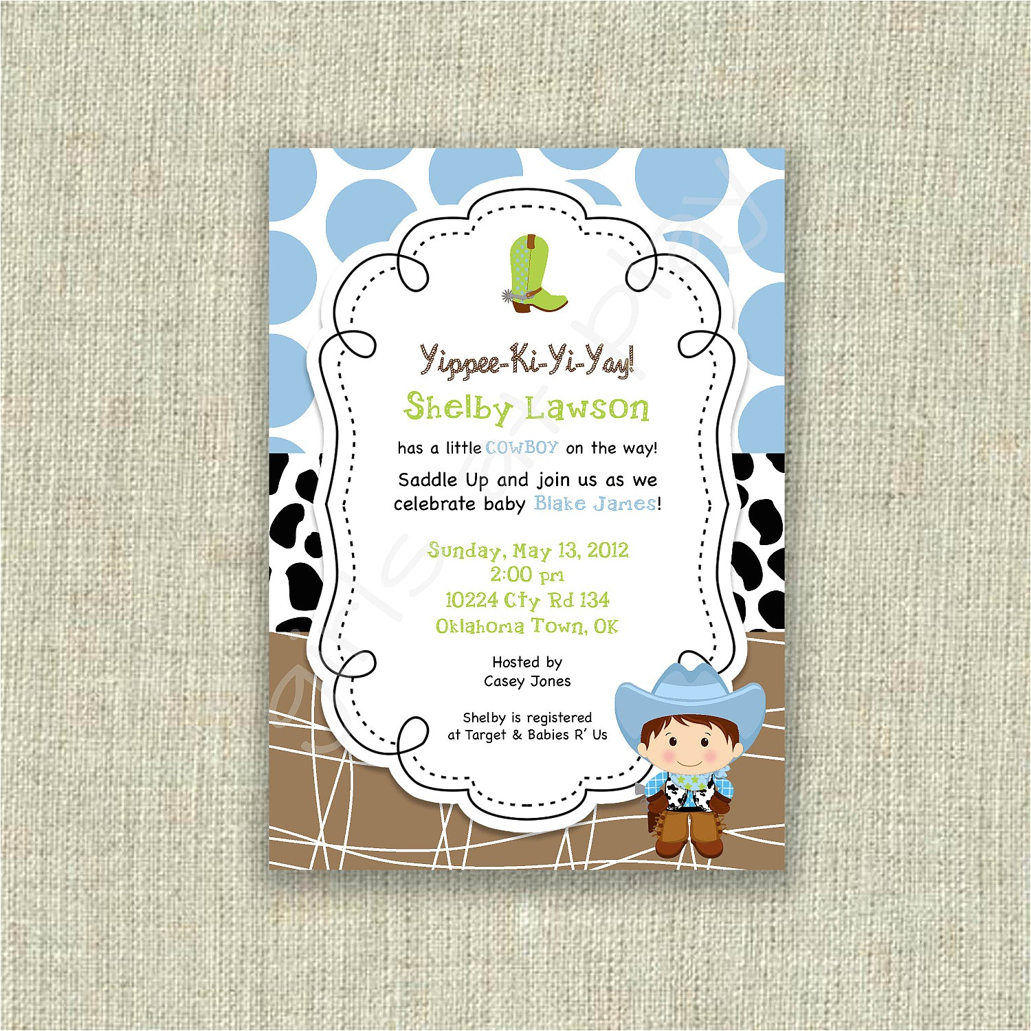 baby shower cowboy invitation invite