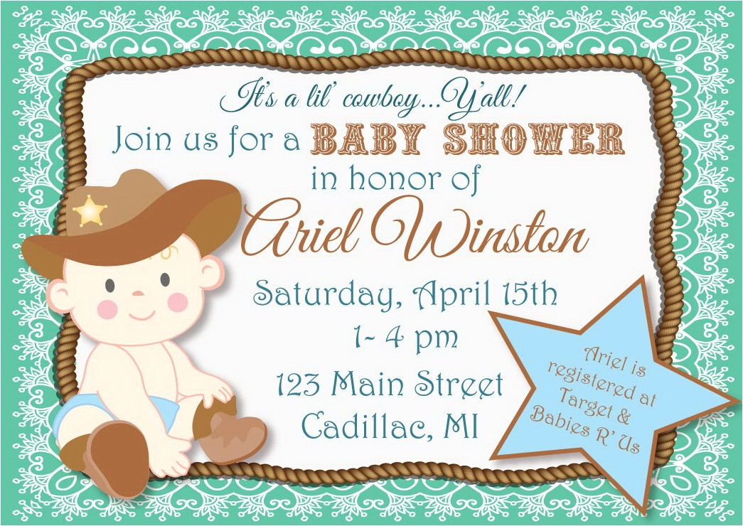 cowboy themed baby shower invitations