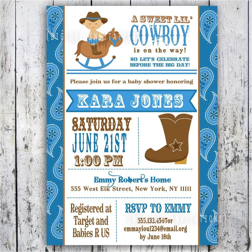 lil cowboy baby shower invitation custom