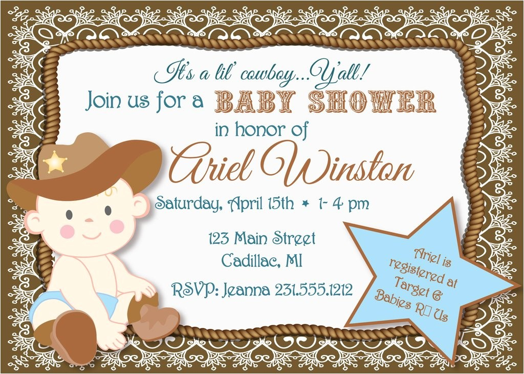 Cowboy Baby Shower Invites Lil Cowboy Baby Shower Invitation Sbgb90
