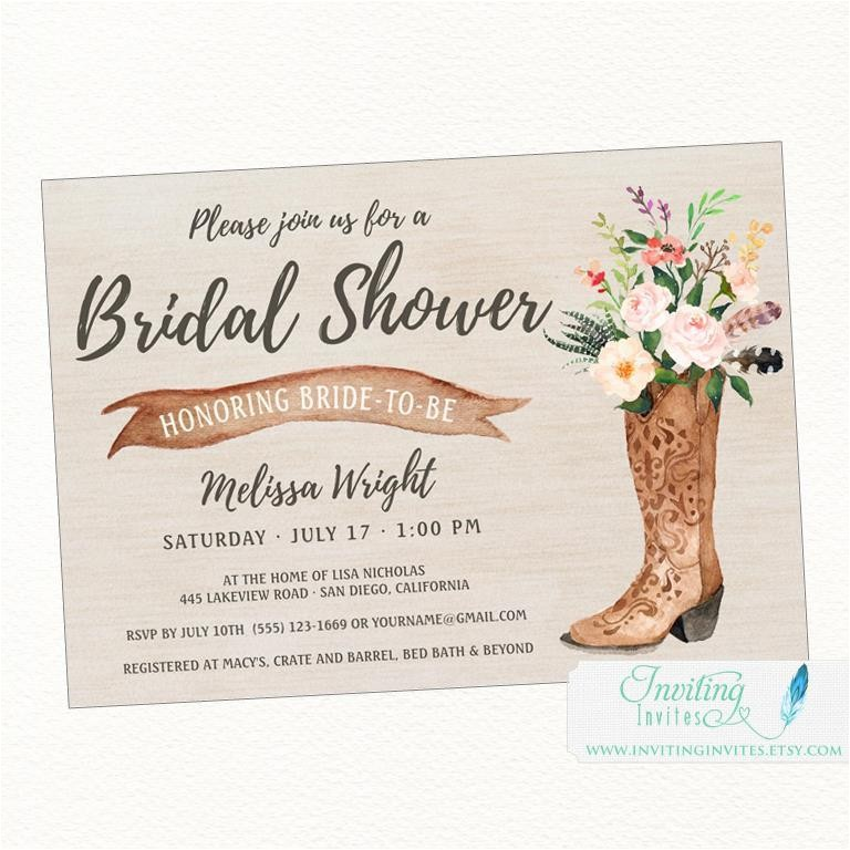 cowboy boot rustic bridal shower invitation country boho chic printable or printed