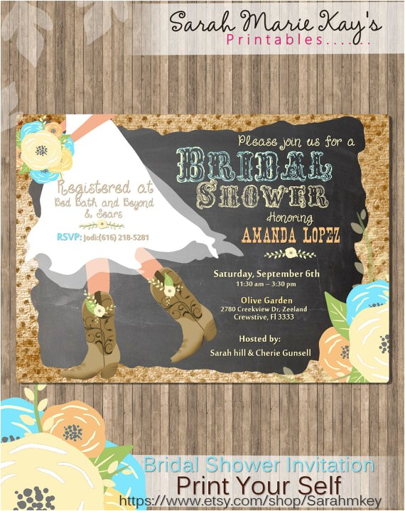 cowboy boots bridal shower printable