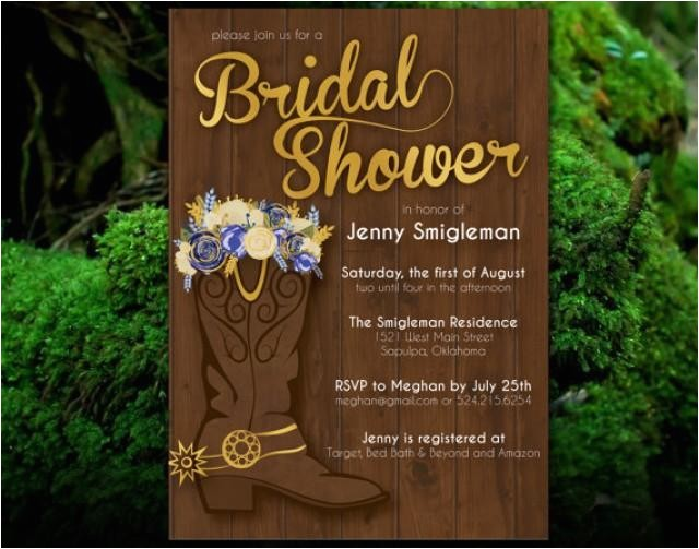 printable western bridal shower invitation flowers cowboy boots