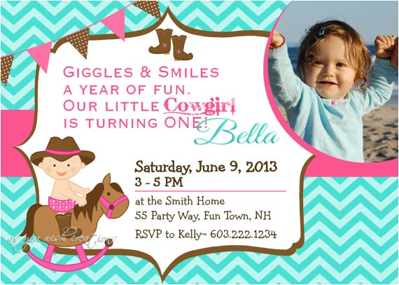 cowgirl birthday party invitation horse