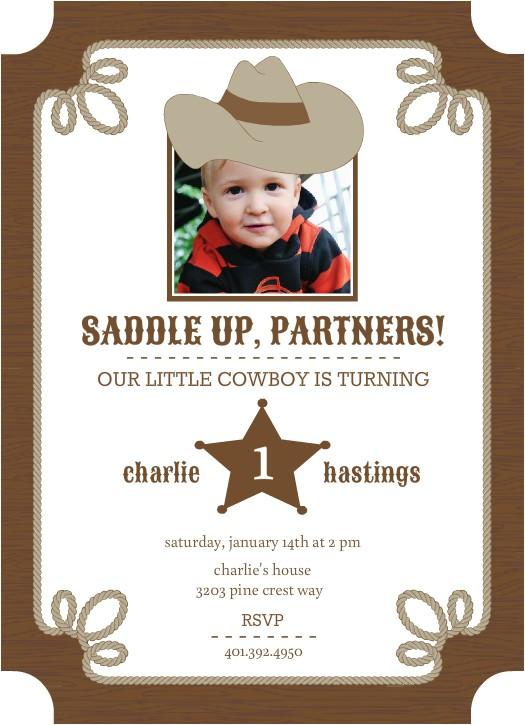 brown western 1st birthday invitations
